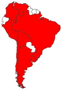 Ve všech státech označených červeně měla československá rozvědka své residentury