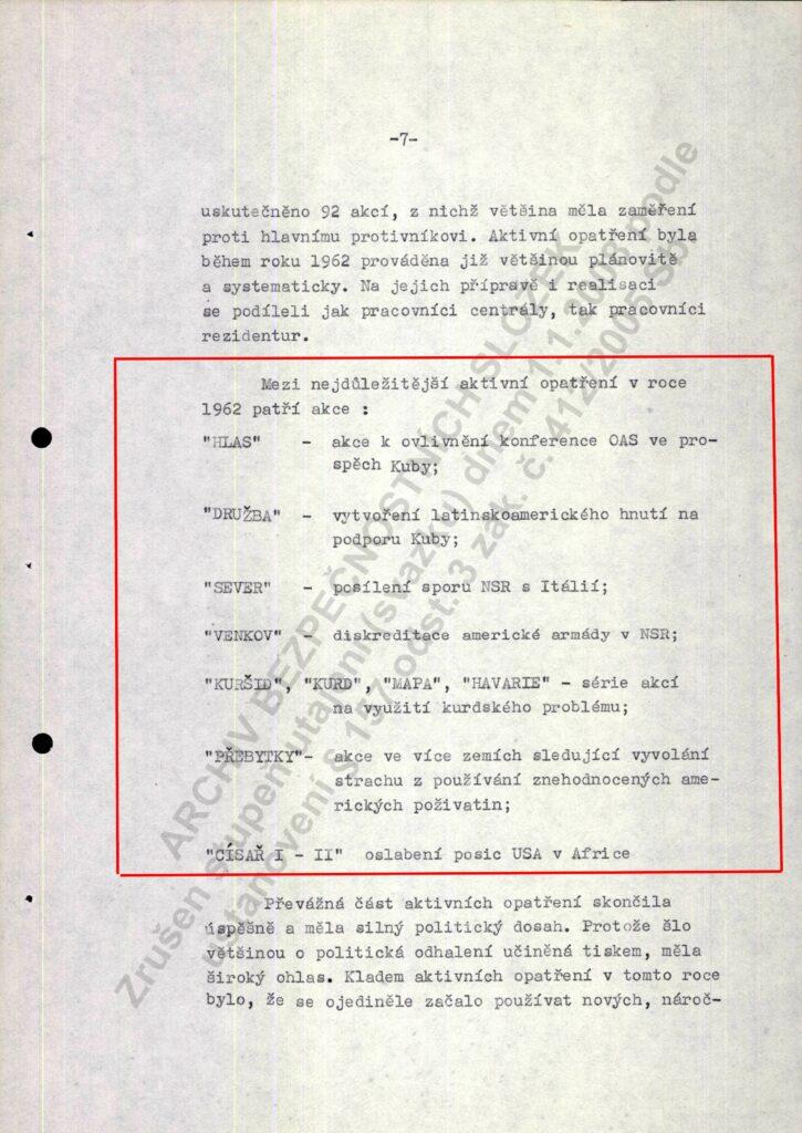str.7, HLAS - operacja z celem wywarcia wpływu na OPA na rzecz Kuby, Družba - utworzenie łacińskoamerykańskiego ruchu na rzecz wsparcia dla Kuby