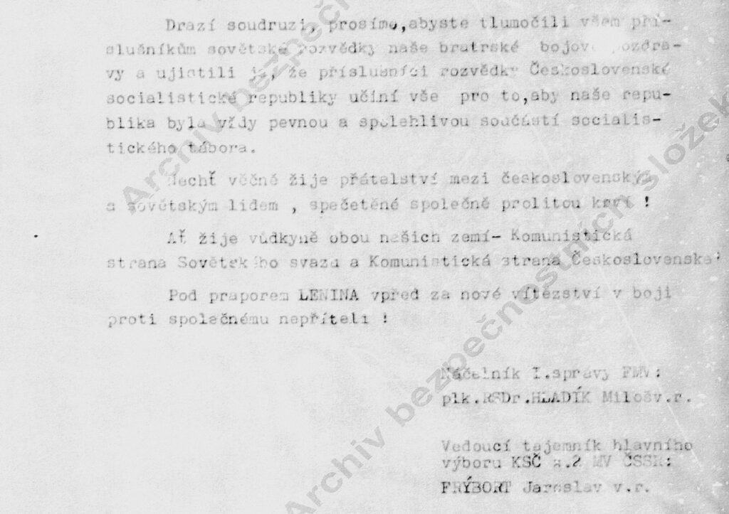 """Poznámka: slovo """"spečetěné"""" uvádím v souladu s originálem. Viz dokument ze svazku rč. 81212 Operativní korespondence se spřátelenými rozvědkami."""